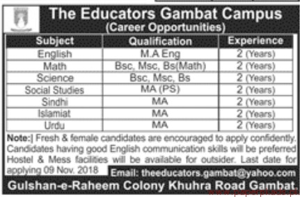 The Educators Gambat Campus Jobs 2018 Latest