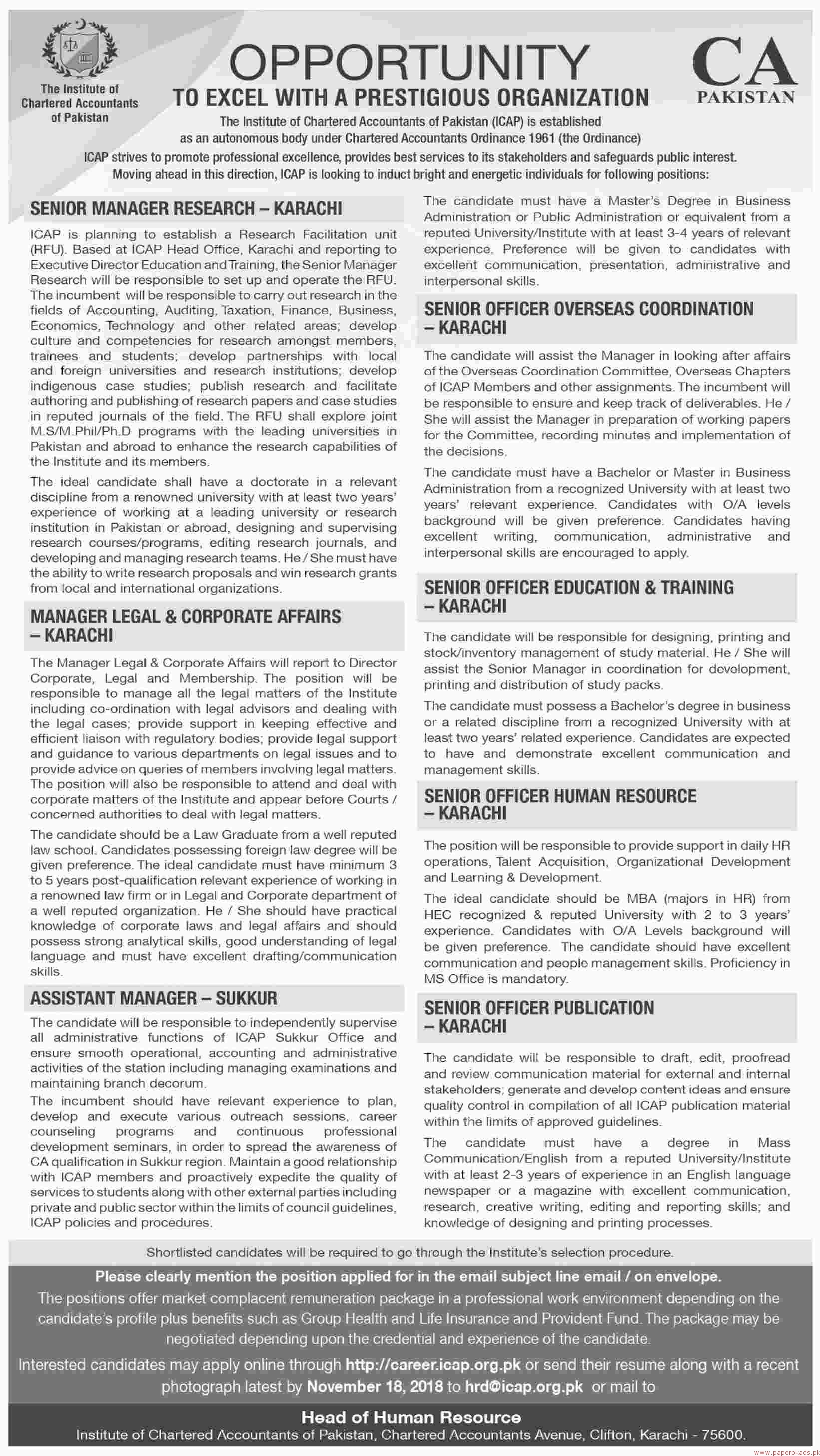 The Institute of Chartered Accountants of Pakistan ICAP Jobs 2018 Latest