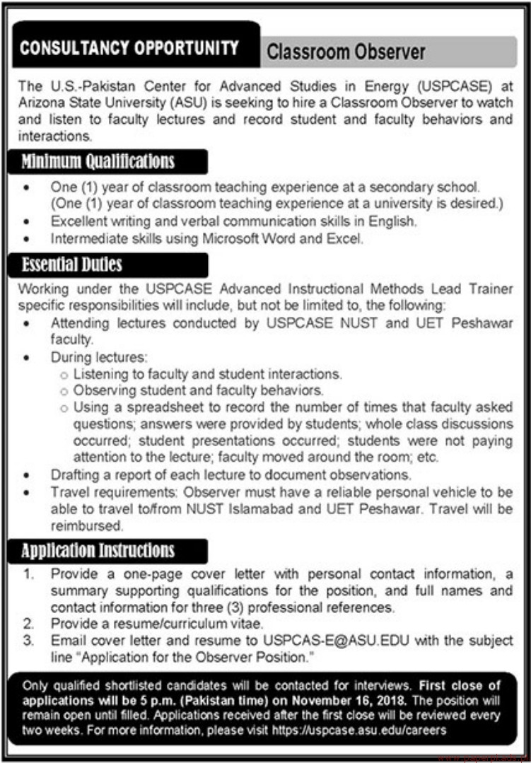 The US Pakistan Center for Advanced Studies in Energy USPCASE jobs 2018 Latest