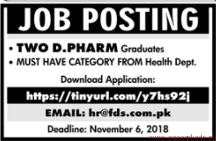 Two D Pharma Jobs 2018 Latest