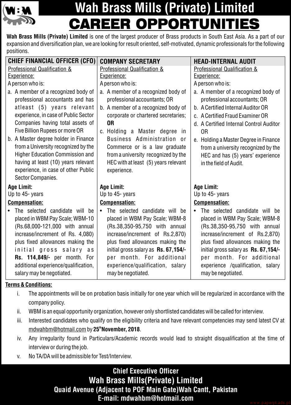 Wah Brass Mills Private Limited Jobs 2018 Latest