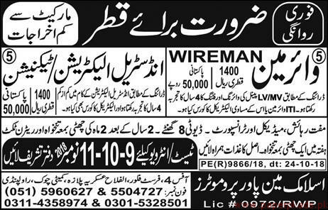 Wireman Industrial Electricians and Technician Jobs in QATAR
