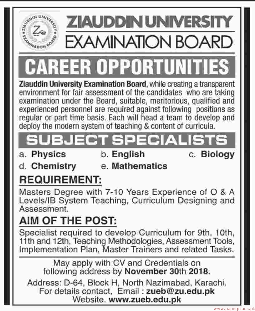 Ziauddin University Examination Board Jobs 2018 Latest