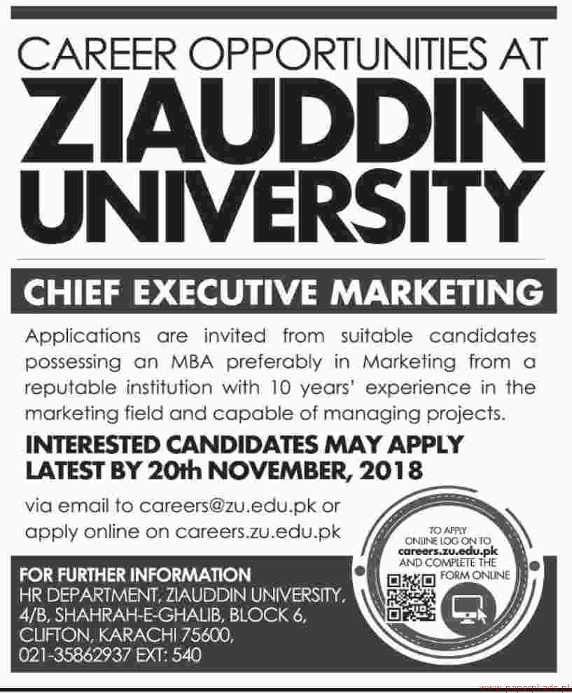 Ziauddin University Jobs 2018 Latest