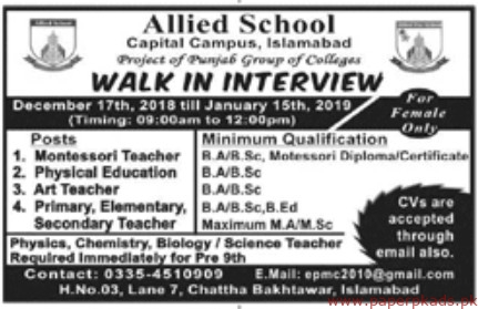 Allied School Jobs 2018 Latest