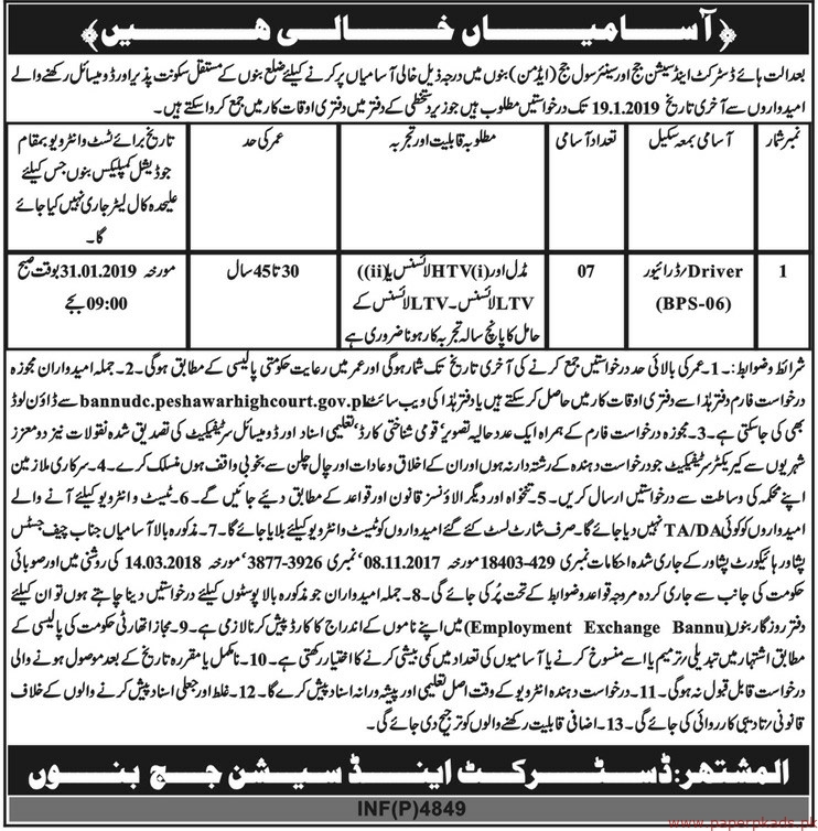 District & Session Judge Bannu Jobs 2018 Latest