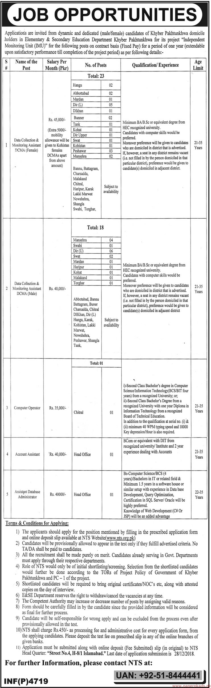 Elementary & Secondary Education Department Khyber Pakhtunkhwa Jobs 2018 Latest
