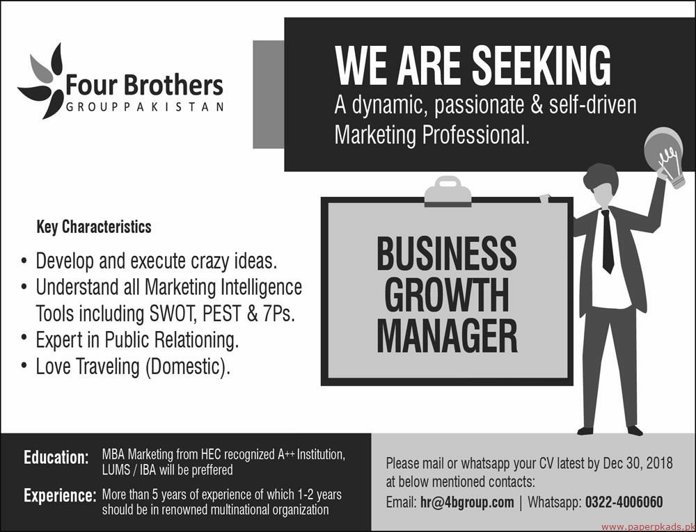Four Brothers Group Pakistan Jobs 2018 Latest