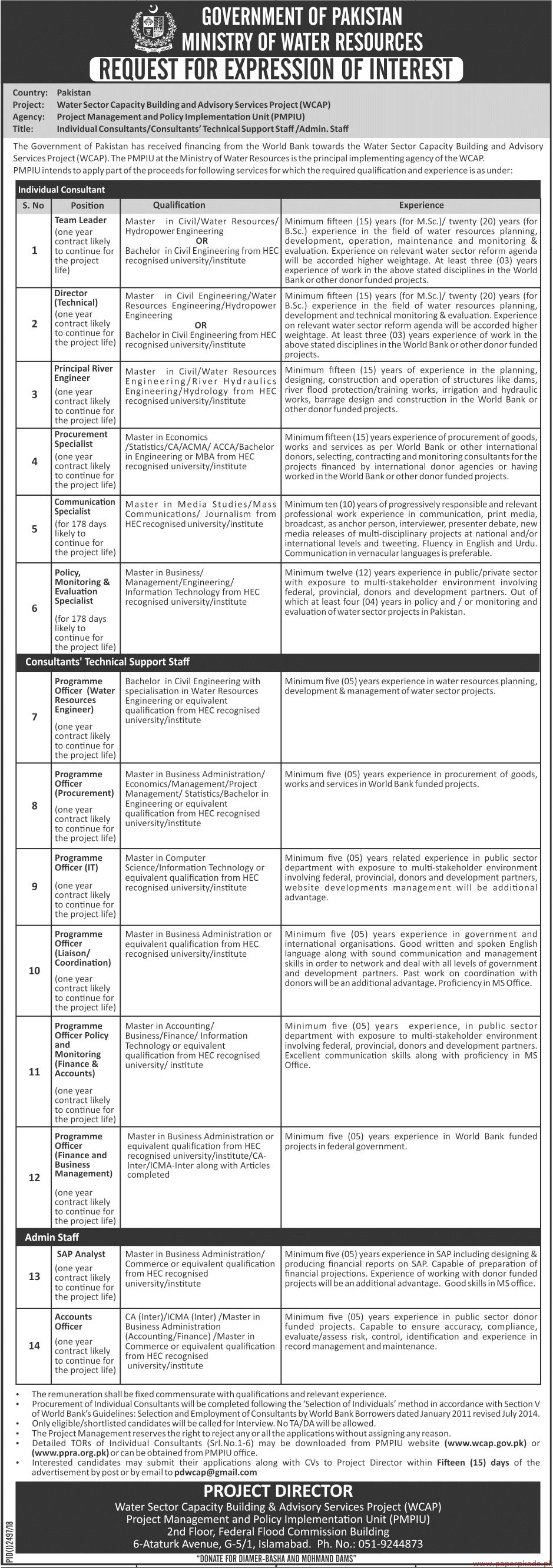 Government of Pakistan - Ministry of Water Resources Jobs 2018 Latest