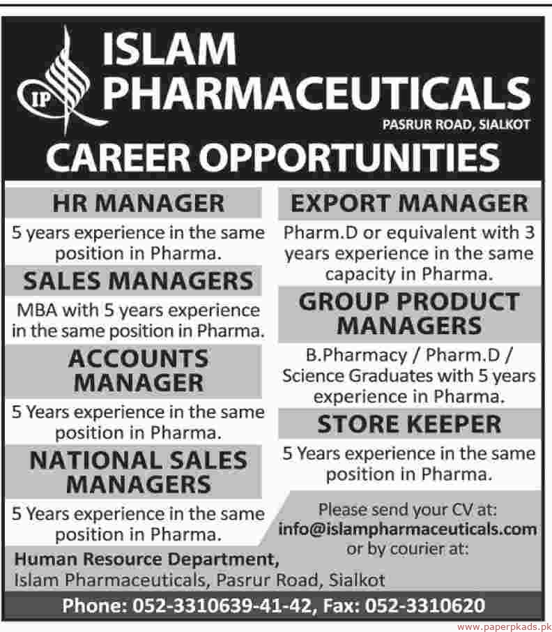 Islam Pharmaceuticals Jobs 2018 Latest