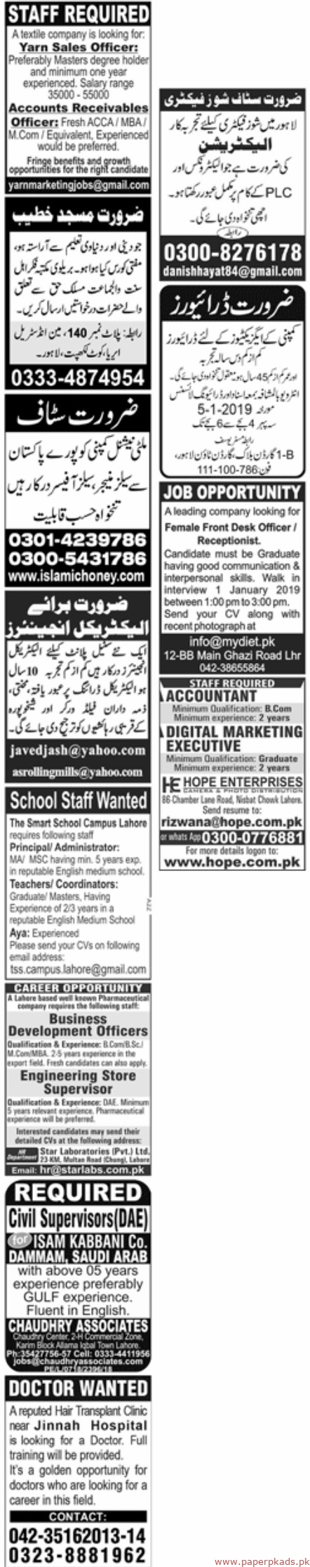 Latest Jang Newspaper Jobs 30 December 2018