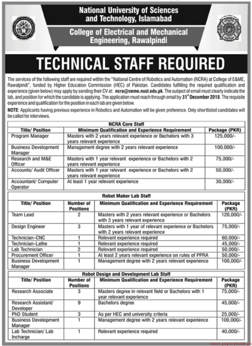 National University of Sciences and Technology Islamabad Jobs