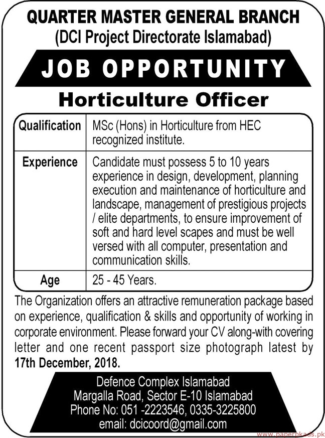 Quarter Master General Branch Jobs 2018 Latest