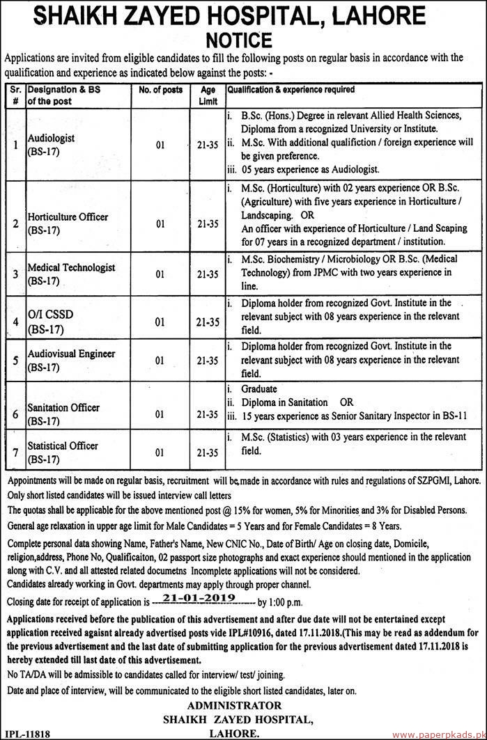 Shaikh Zayed Hospital Lahore Jobs 2018 Latest