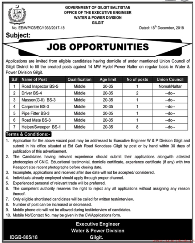 Water & Power Division Gilgit Jobs 2018 Latest