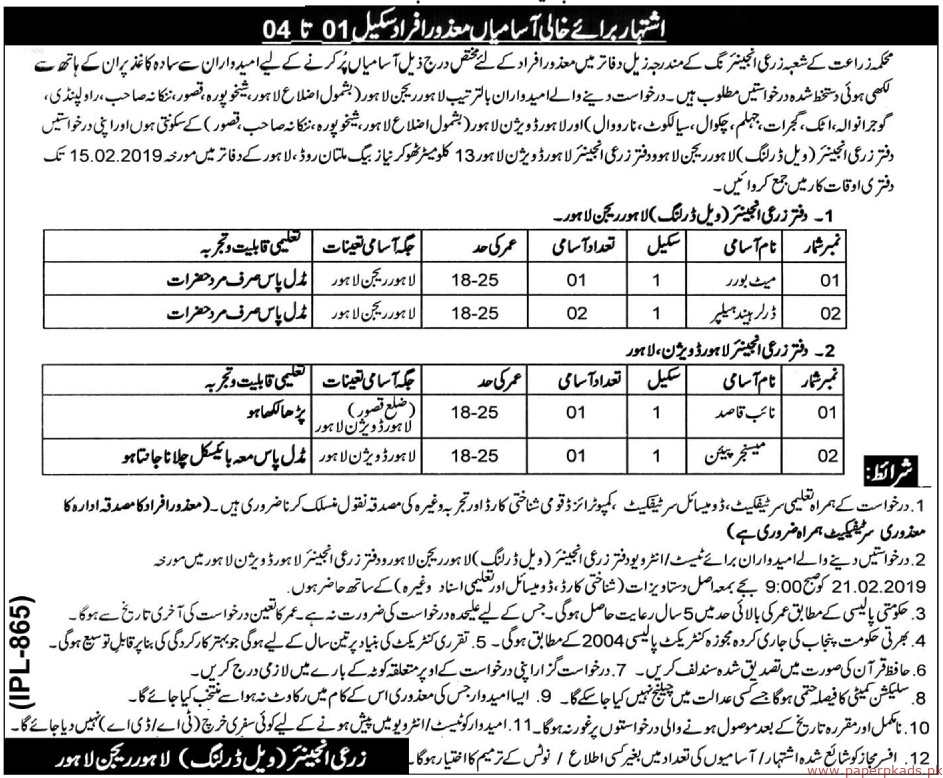 Punjab Agriculture Meat Company Pamco Jobs January 2019