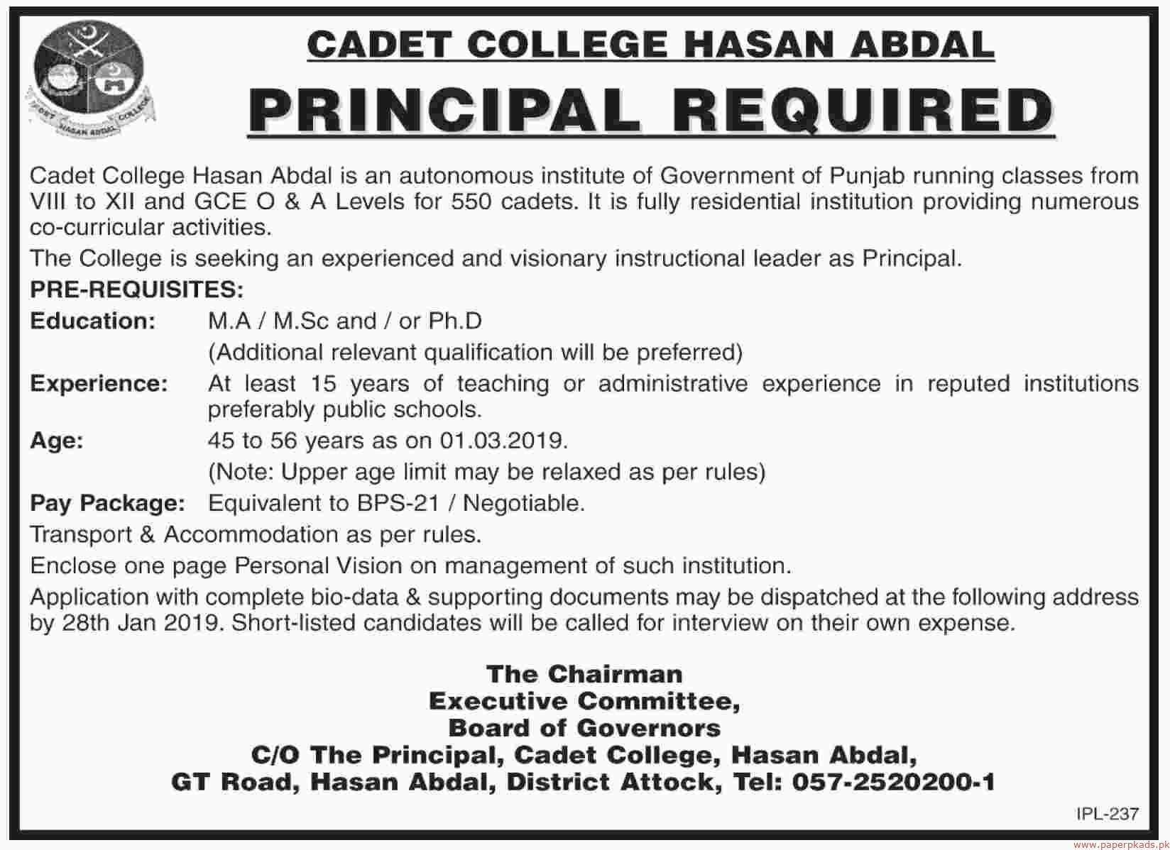Cadet College Hasan Abdal Jobs 2019 Latest
