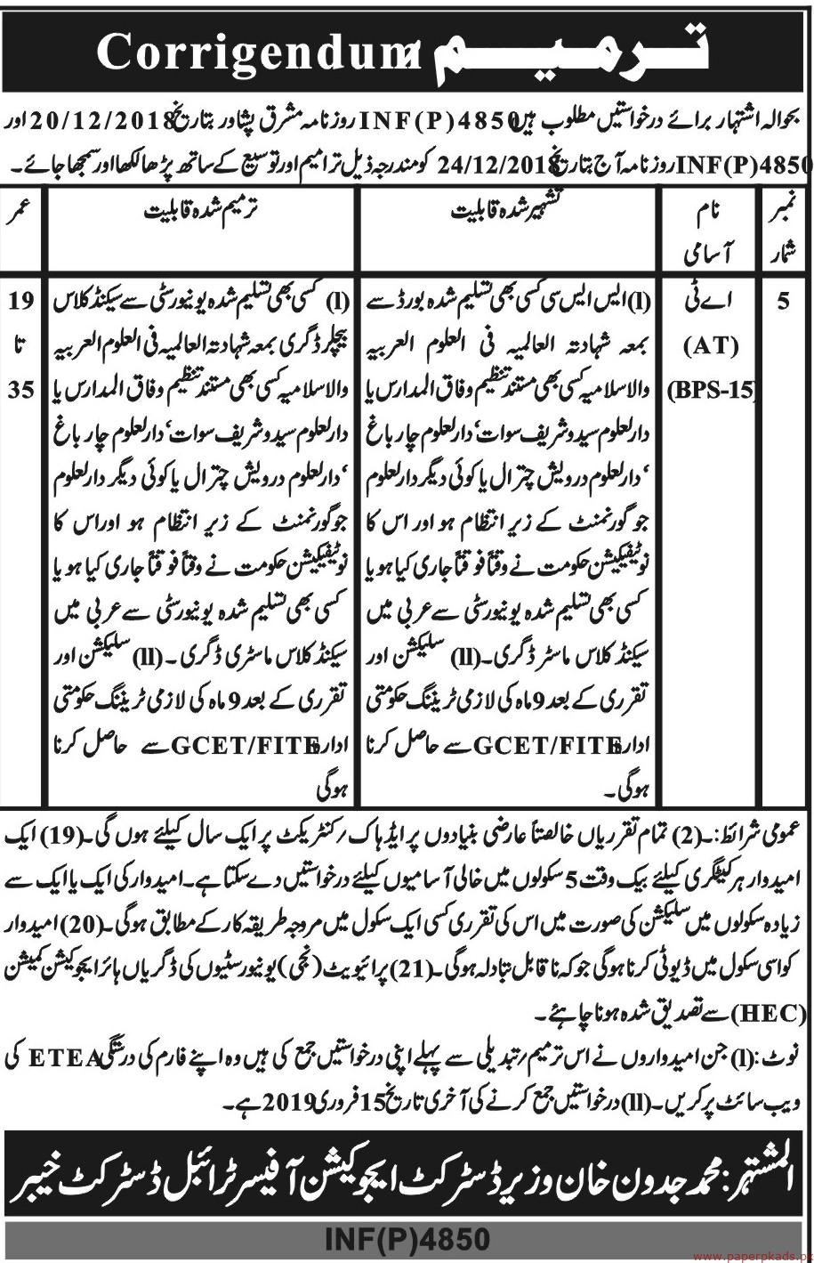 District Education Officer District Khyber Jobs 2019 Latest