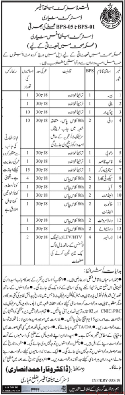 District Health Officer Jobs 2019 Latest