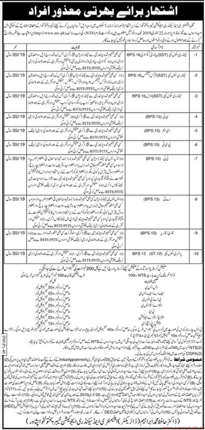 Elementary & Secondary Education Department Jobs 2019 Latest