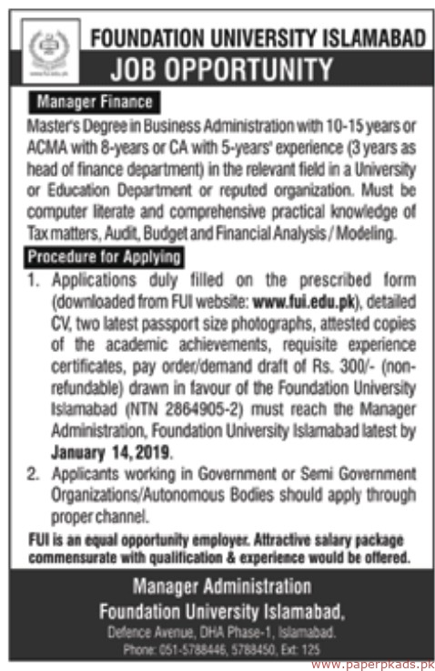 Foundation University Islamabad Jobs 2019 Latest