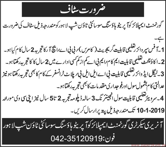 Government Employees Cooperative Housing Society Jobs 2019 latest