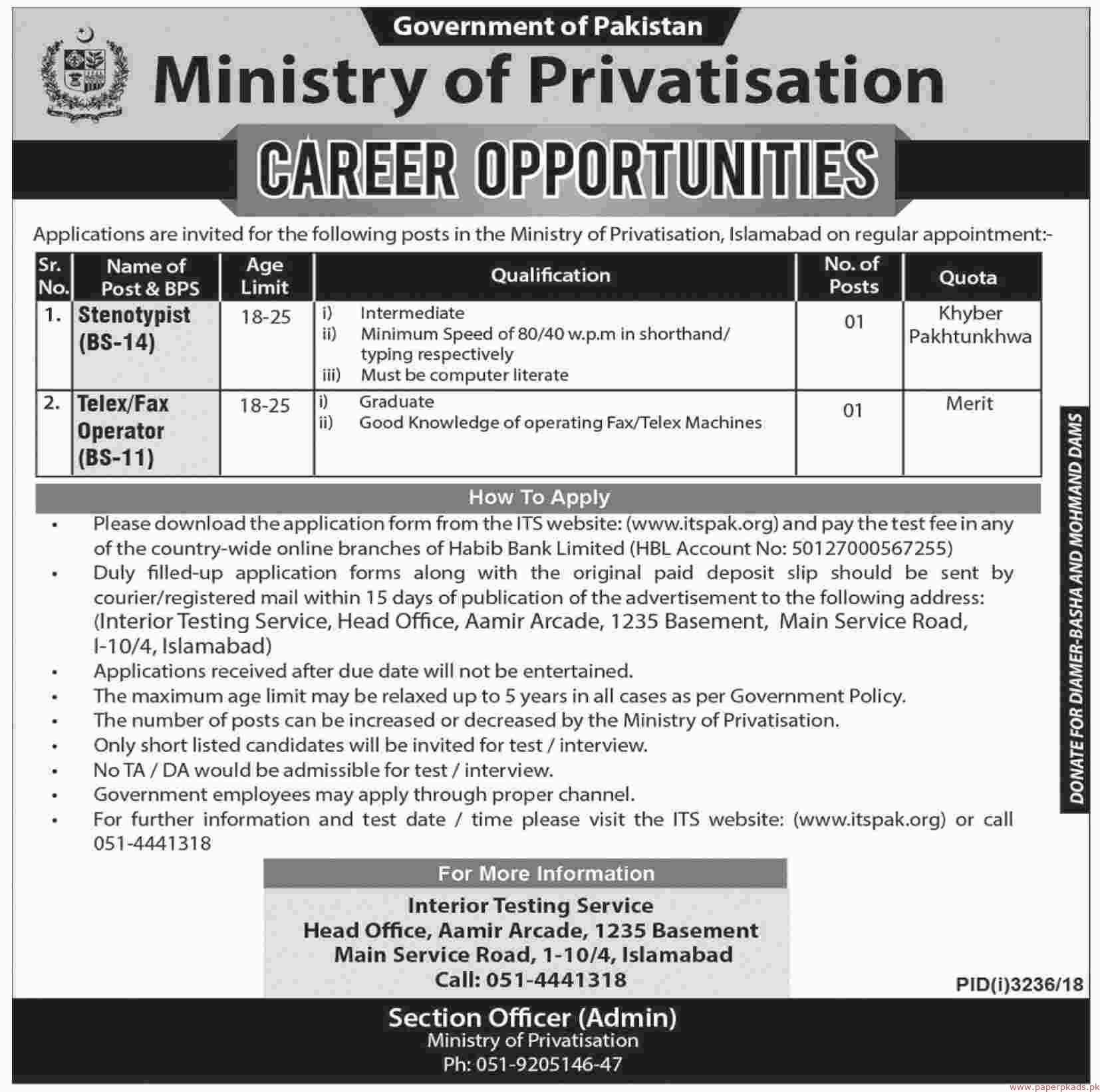 Government of Pakistan (Ministry of Privatisation) Jobs 2019 latest
