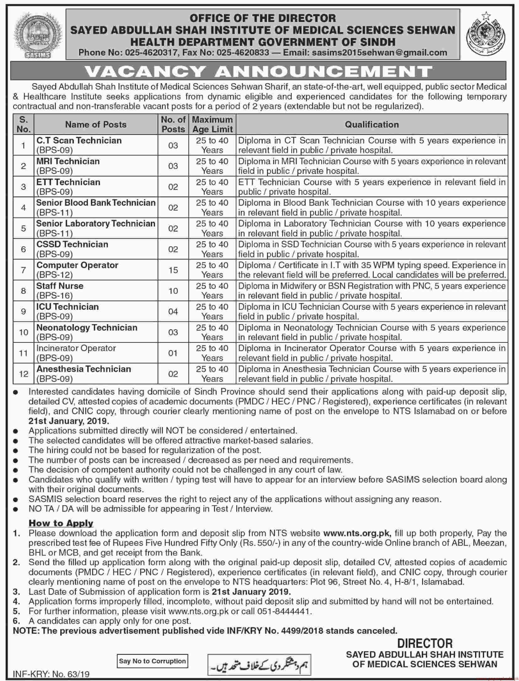 Government of Sindh - Health Department Jobs 2019 Latest