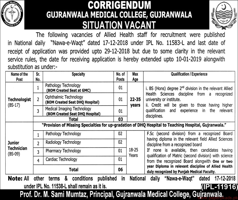 Gujranwala Medical College Jobs 2019 Latest