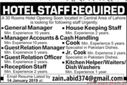 Hotel Staff Required 2019 Latest Jobs