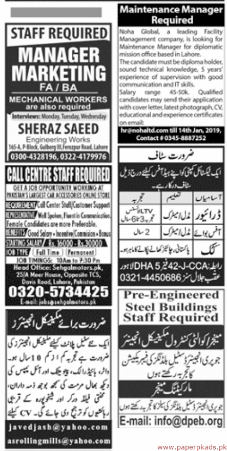 Jobs ads in newspaper 2019