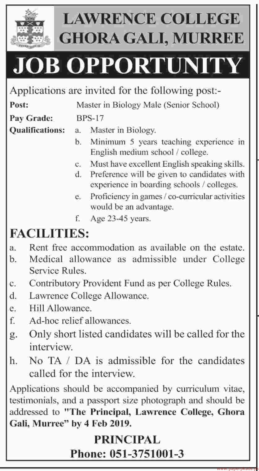 Lawrence College Ghora Gali Murree Jobs 2019 Latest
