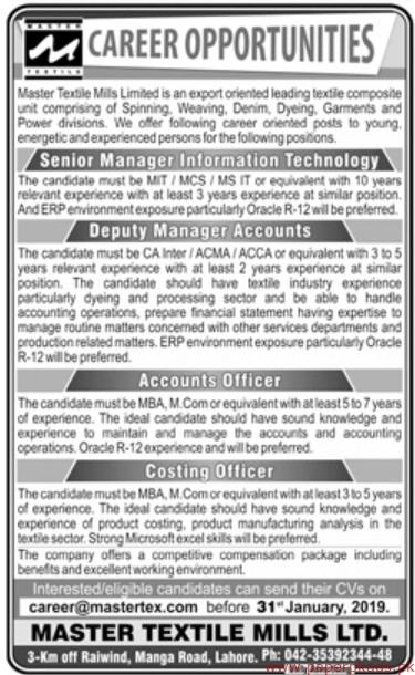 Master Textile Mills Limited Jobs 2019 Latest
