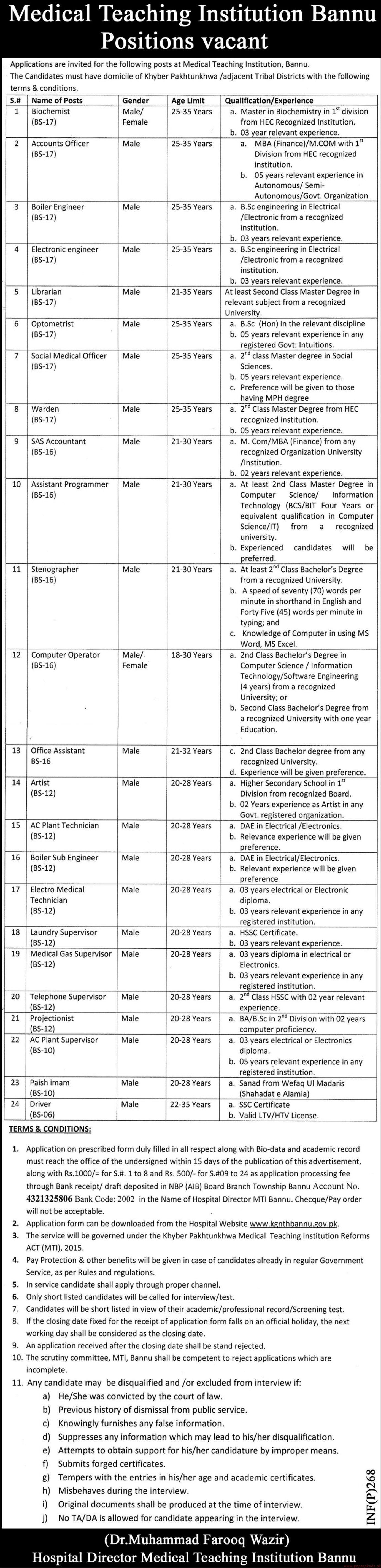 Medical Teaching Institution Bannu Jobs 2019 Latest