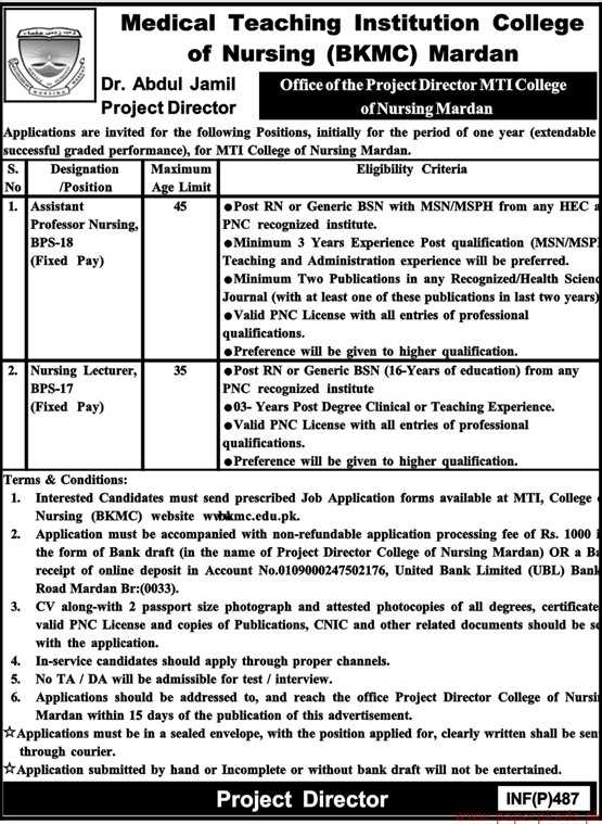 Medical Teaching Institution College of Nursing (BKMC) Jobs