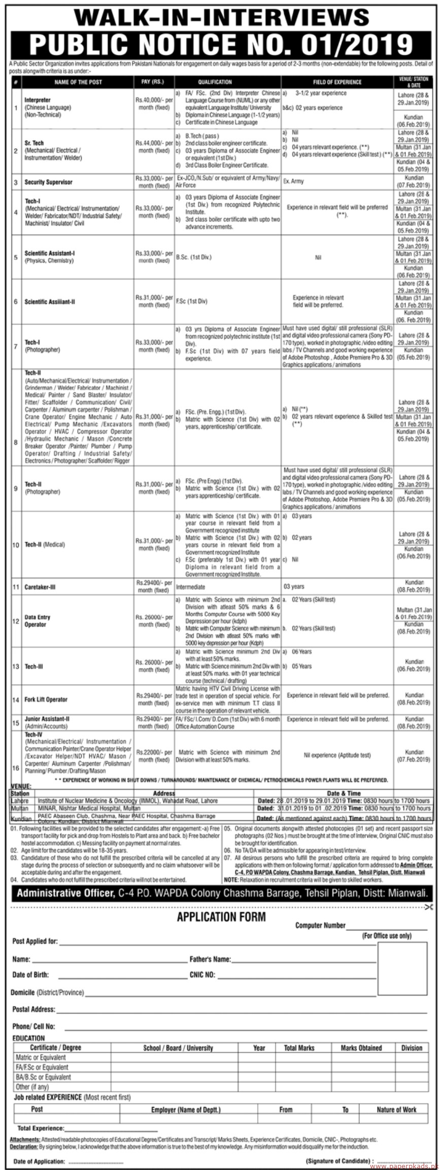 Pakistan Atomic Energy Commission (PAEC) Jobs 2019 Latest