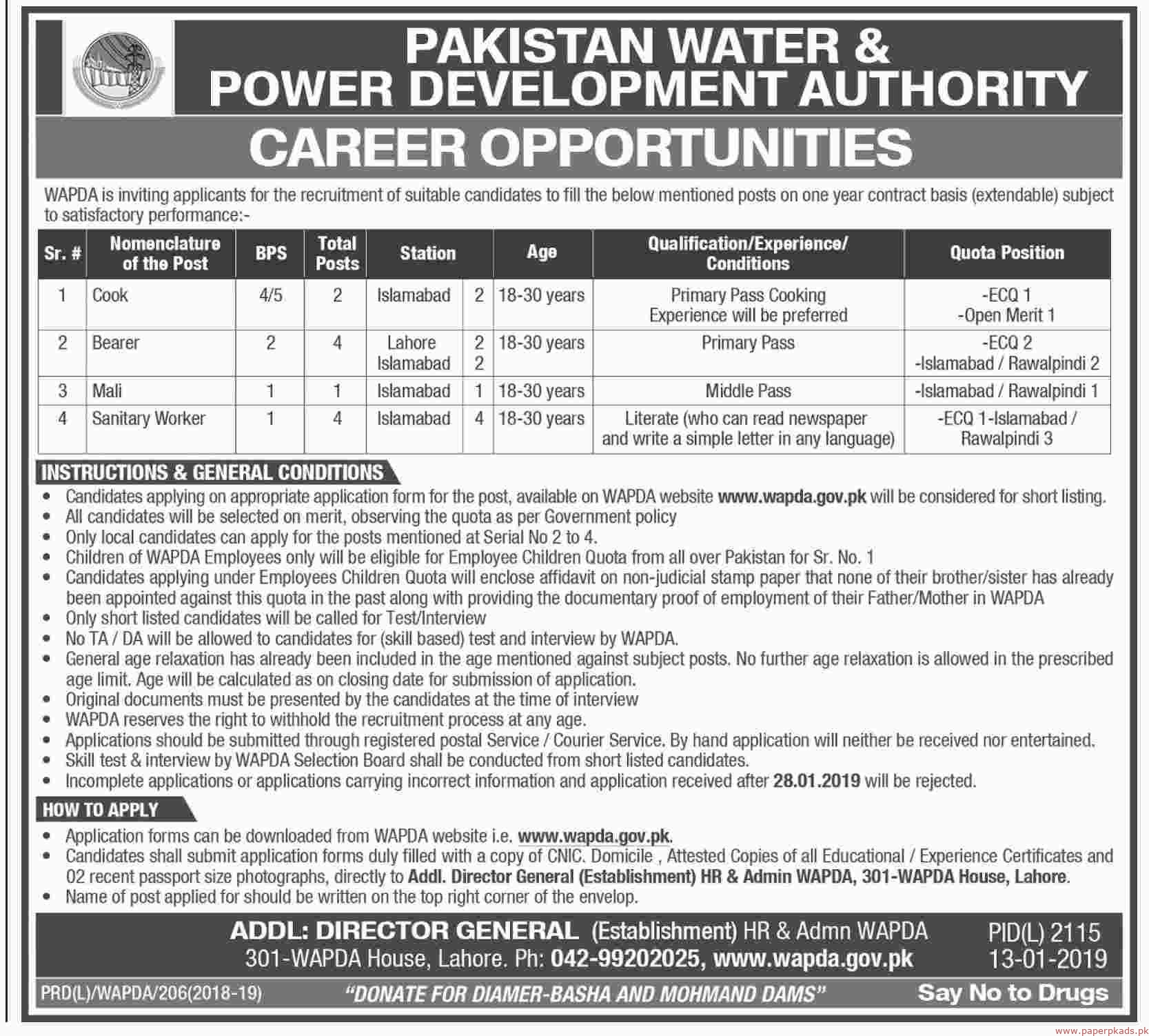 Pakistan Water and Power Development Authority (WAPDA) Jobs 2019 Latest