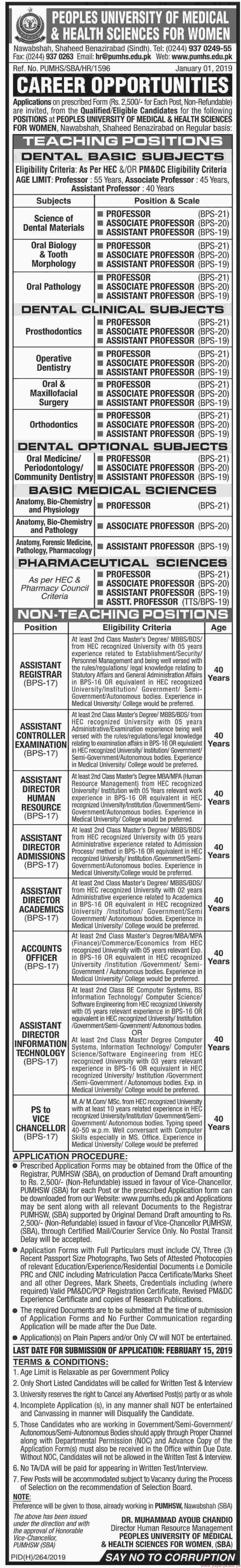 Peoples University of Medical & Health Sciences Jobs 2019 Latest