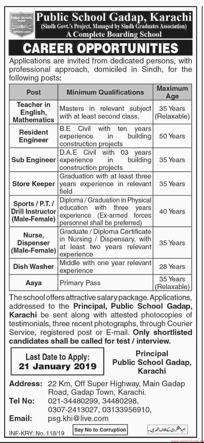 Public School Gadap Karachi Jobs 2019 Latest