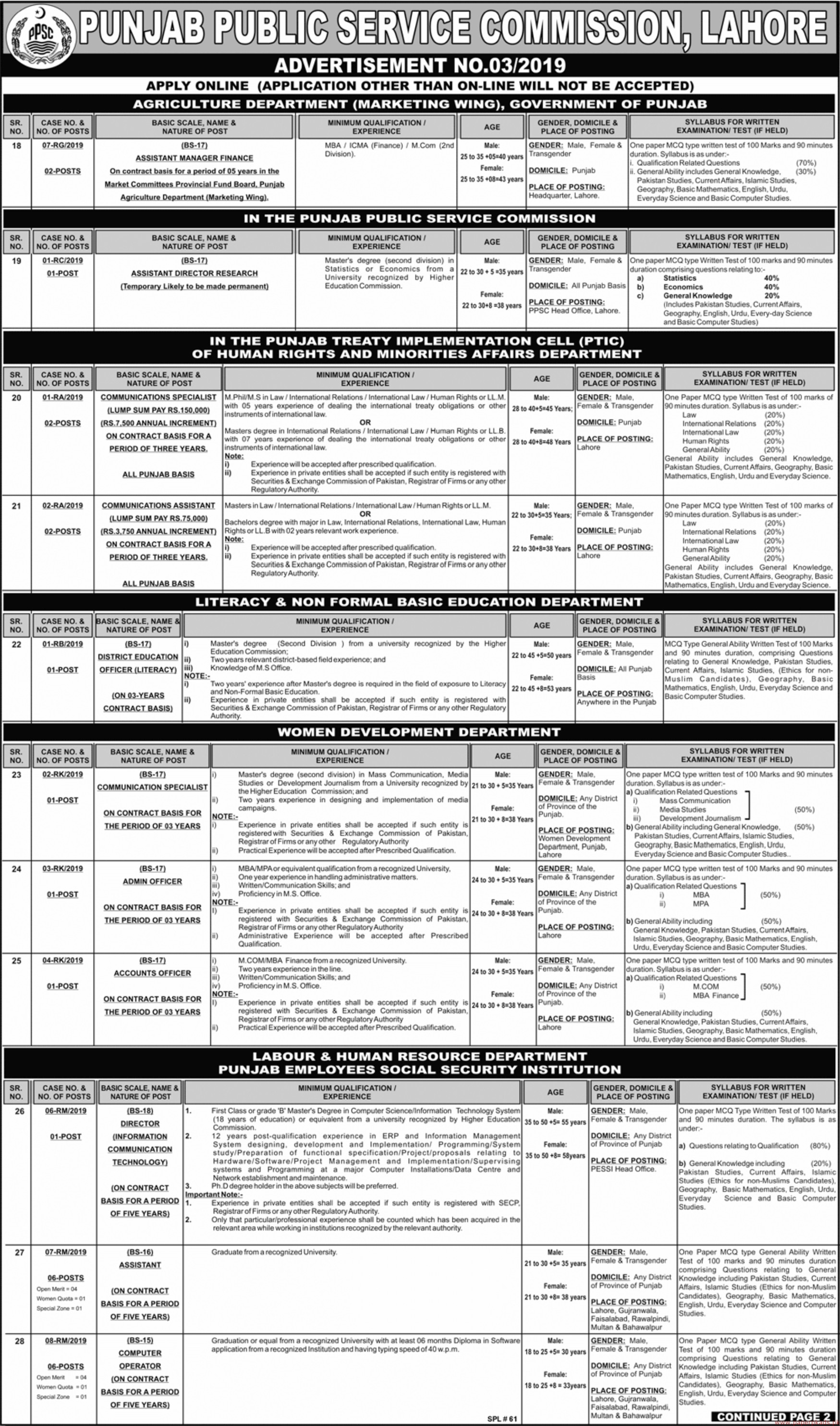 Punjab Public Service Commission (PPSC) Advertisement No 03-2019 Jobs Latest Page-1