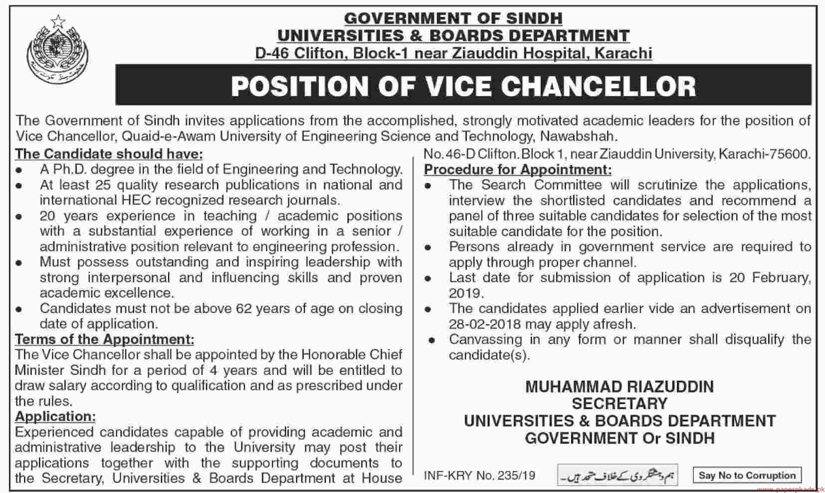 Quaid-e-Awam University of Engineering Science and Technology Nawabhah Jobs 2019 Latest