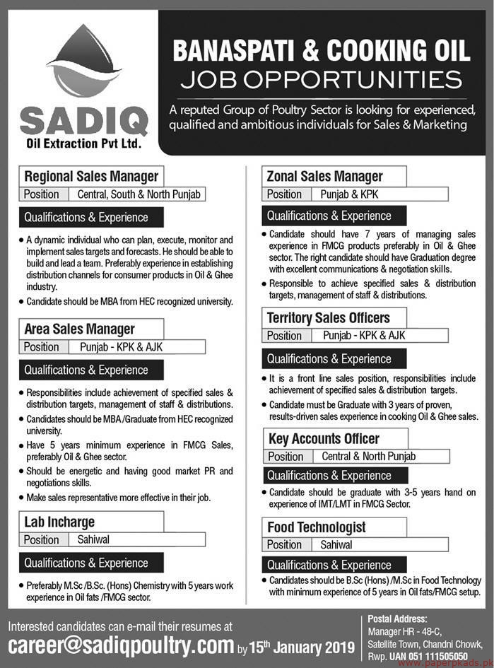 SADIQ Oil Extraction Private Limited Jobs 2019 Latest