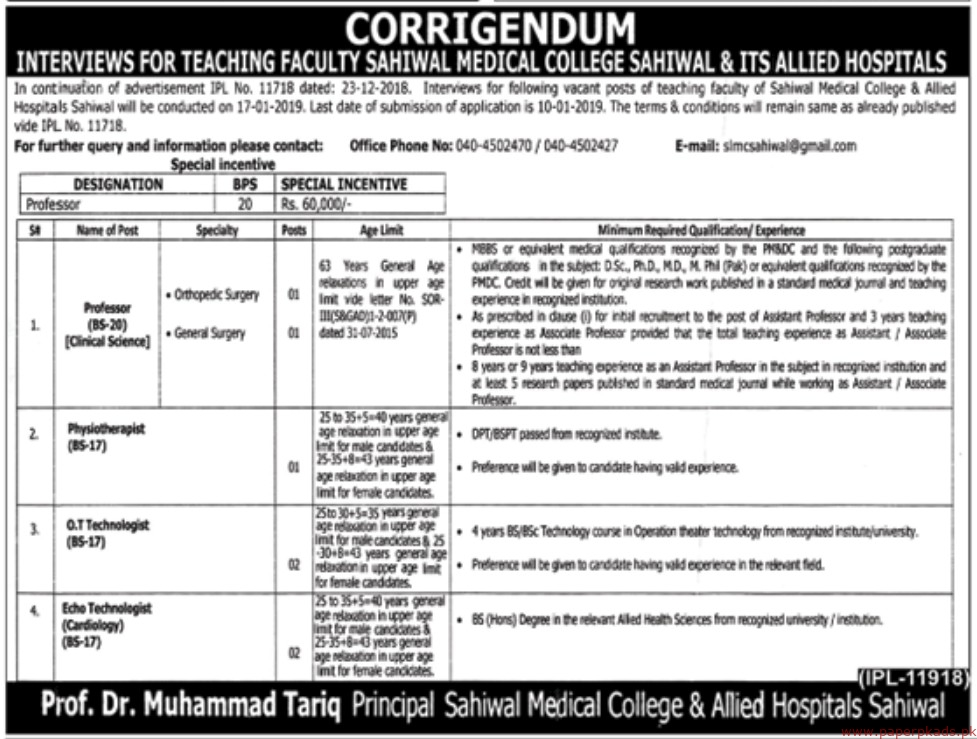 Sahiwal Medical College & Allied Hospitals Jobs 2019 Latest