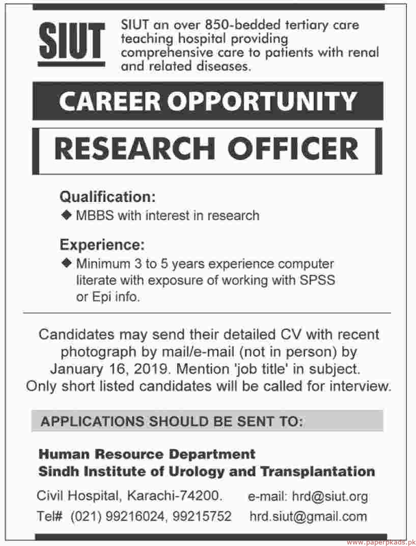 Sindh Institute of Urology and Transplantation (SIUT) Jobs 2019 Latest