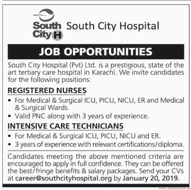 South City Hospital Jobs 2019 Latest