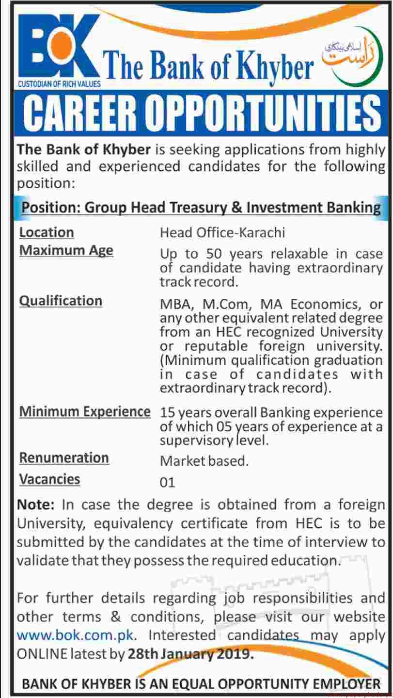 The Bank of Khyber Jobs 2019 Latest