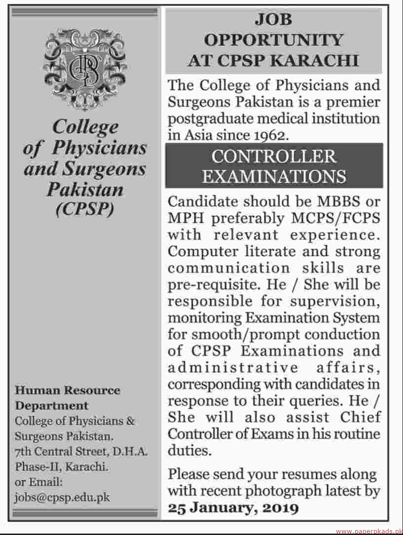 The College of Physicians and Surgeons Pakistan Jobs 2019 Latest