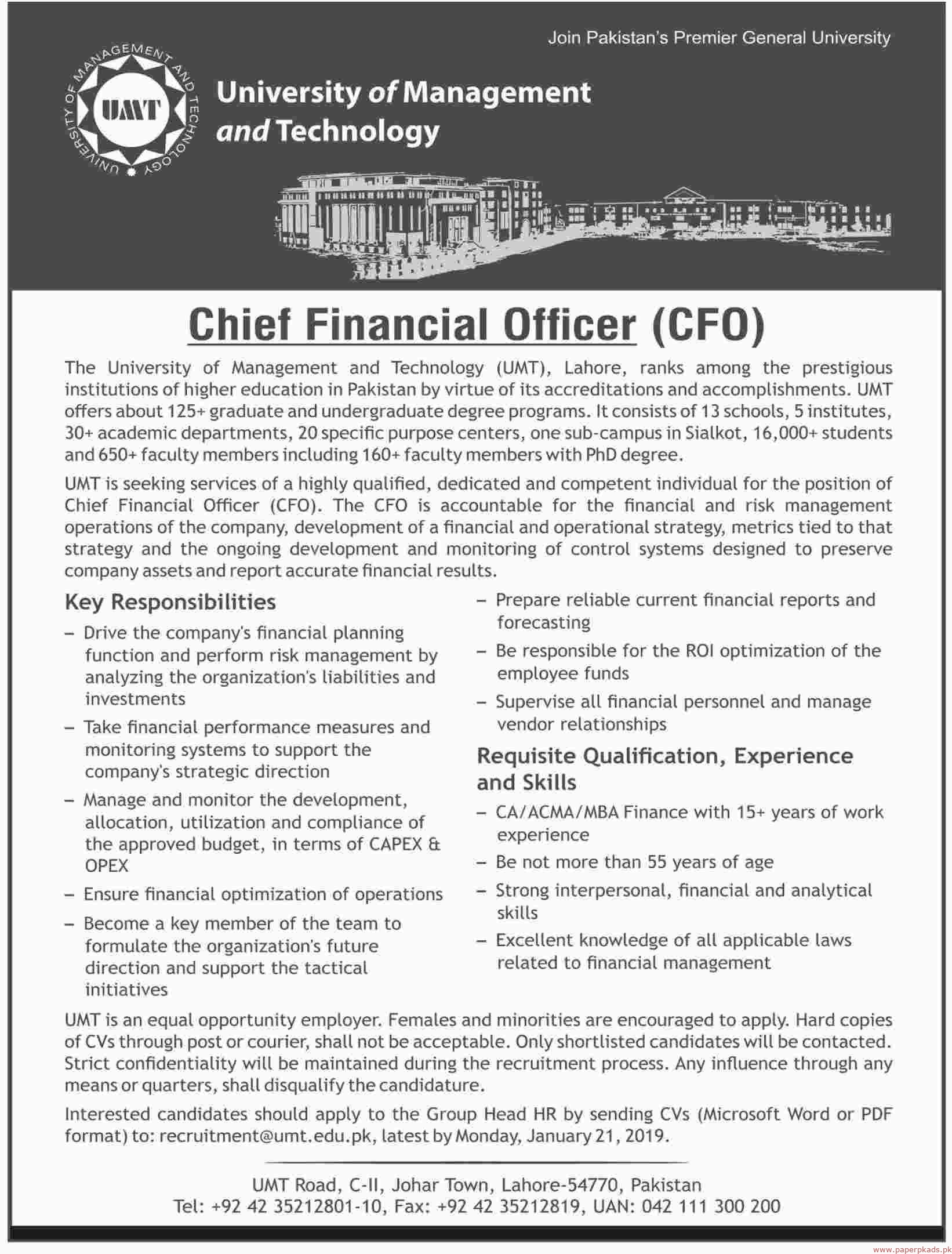 University of Management and Technology (UMT) Jobs 2019 Latest