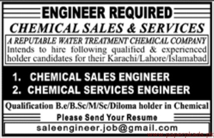 Water Treatment Chemical company Jobs 2019 Latest