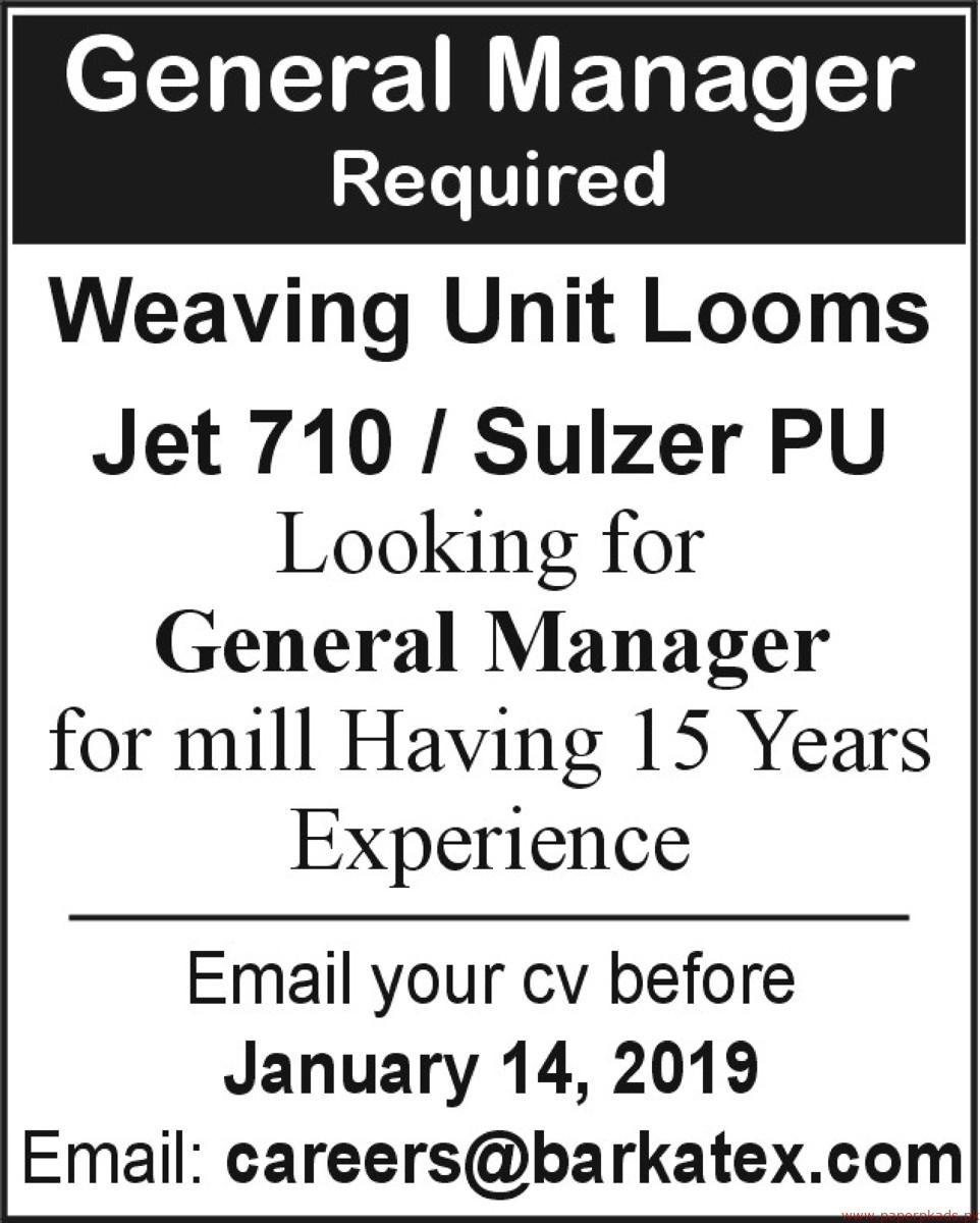 Weaving Unit Looms Jobs 2019 Latest